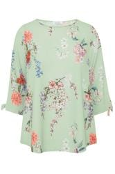 YOURS LONDON Sage Green Floral Split Sleeve Top