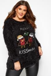 Black Sequin 'Merry Kissmas' Christmas Jumper