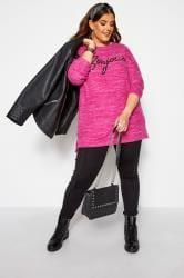 """Pailletten-Pullover mit """"Bonjour""""-Schriftzug - Pink"""