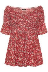 Red Ditsy Floral Shirred Bardot Top