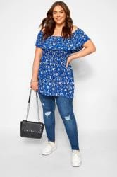 Blue Ditsy Floral Shirred Bardot Top