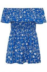 Blue Ditsy Floral Shirred Bardot Top