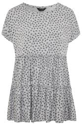 Grey Marl Ditsy Floral Peplum Smock Tunic