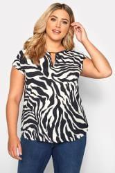 SIZE UP Black & White Zebra Print Cut Out Blouse
