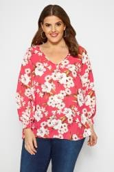 SIZE UP Bright Pink Floral Chiffon Blouse