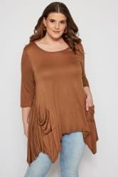 SIZE UP Brown Pocket Hanky Hem Top
