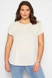 SIZE UP Cream Angel Sleeve Jersey Top