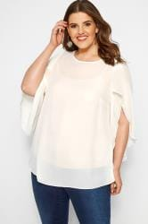 SIZE UP Cream Angel Sleeves Chiffon Top