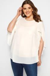 Size Up Shirt mit 3/4 Flügel-Ärmeln - Creme
