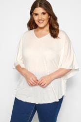 SIZE UP Cream Marl Jersey Cape Top