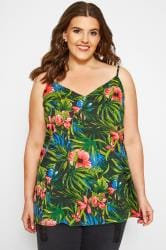 Green Tropical Print Cami Top