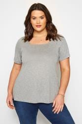 SIZE UP Grey Square Neck T-Shirt