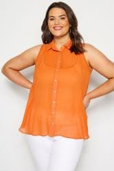 Size Up Ärmellose Bluse - Orange