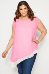 SIZE UP Pink Double Layered Asymmetric Top