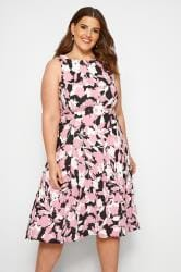 SIZE UP Pink Floral Woven Dress