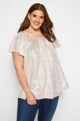 SIZE UP Pink Metallic Plisse Top