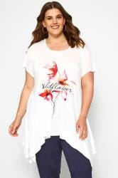 SIZE UP White Floral 'Wildflower' T-Shirt