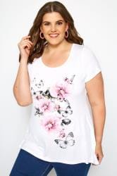 SIZE UP White & Pink Floral Butterfly Print T-Shirt