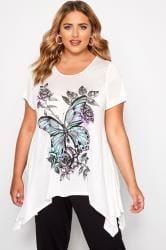 SIZE UP White & Purple Butterfly Hanky Hem T-Shirt