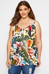 White Tropical Print Cami Top