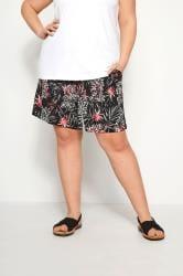 Black Woven Palm Print Shorts