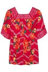 Pink Floral Chevron Print Crochet Blouse