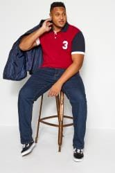 BadRhino Red Colour Block Polo Shirt