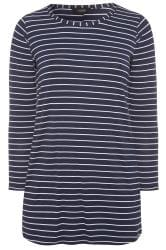 Navy & White Striped Jersey Top