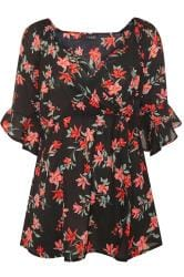 Black Floral Crepe Wrap Top