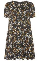 Blumen-Kleid mit Taschen - Schwarz