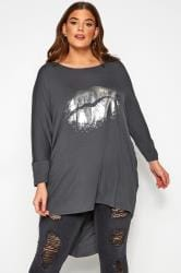 Slate Grey Foil Lips Print Extreme Dipped Hem Top