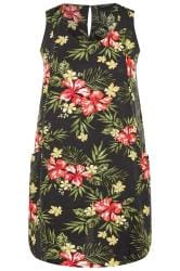 Black & Red Floral Sleeveless Pocket Dress