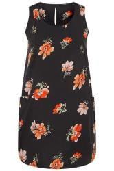 Black & Orange Floral Sleeveless Pocket Dress