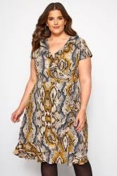 Brown Snake Print Frill Wrap Dress