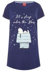 Navy Glitter Slogan Snoopy Nightdress