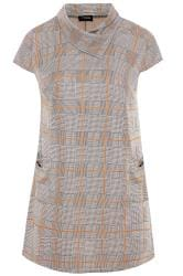 Stone Check Cowl Neck Tunic Dress