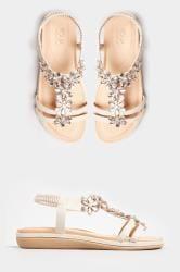 Sandalen met sierbloemen in steenkleur