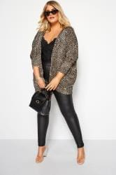 Stone Leopard Print Short Cocoon Cardigan