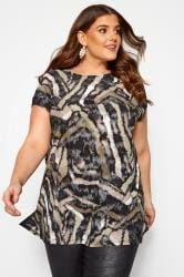 Sand Metallic Tiger Print Top