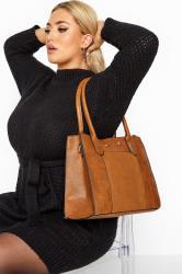 Tan Faux Vegan Suede Panel Shoulder Bag