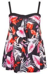 Black Tropical Leaf Print Tankini Top