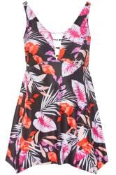 Black Tropical Leaf Print Swim Dress