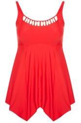 Red Gold Trim Neckline Swim Dress