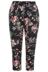 Black Floral Tapered Trousers