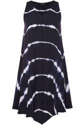 Navy Tie Dye Swing Dress
