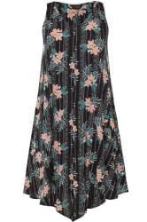 Black Tropical Floral Swing Dress