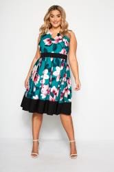 Teal Blue Floral Print Skater Dress