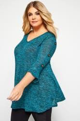 Teal Marl Button Sleeve Top