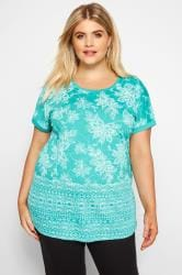 Turquoise Floral Border T-Shirt