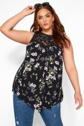 Black Floral Asymmetric Lace Top